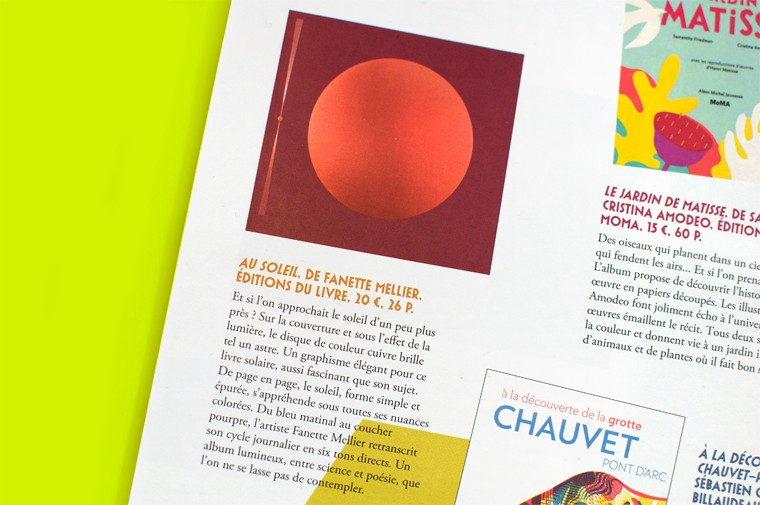 Article about Au soleil by Fanette Mellier published in revue dada n°208